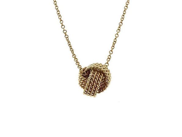 Mesh Knotted Ball Drop Necklace Gold - Product Image