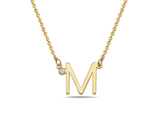 18K Gold Plated CZ Initial Necklaces - M - Product Image