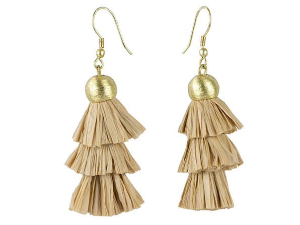 Raffia + Brass Earrings