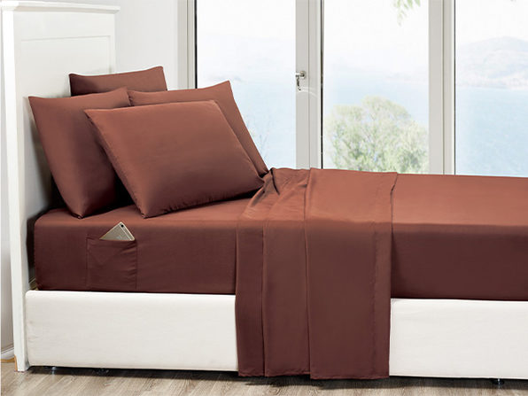 6-Piece Chocolate Ultra Soft Bed Sheet Set with Side Pockets King - Product Image