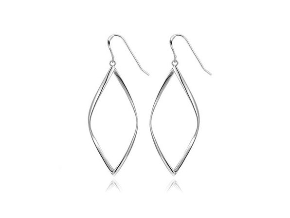 Geometric Spiral Drop Earrings (Silver)