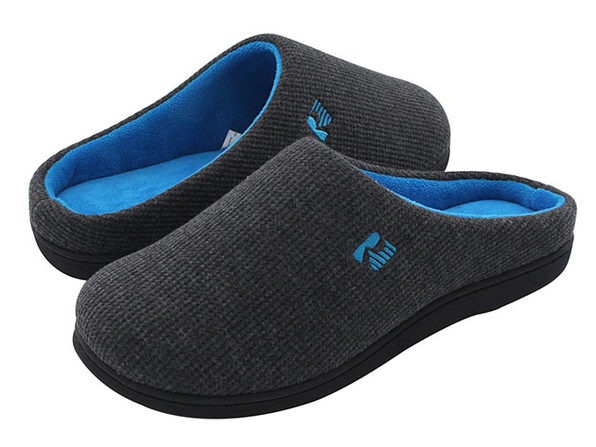 Men's Original Two-Tone Memory Foam Slippers (Dark Gray/Blue, Size 13-14)