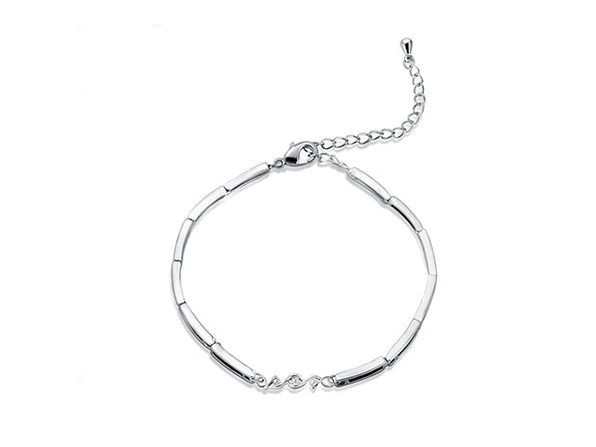 Natural Diamond Multilink White Gold-Plated Bracelet