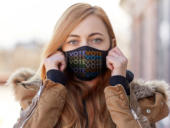 VOTE Double Layer Cloth Masks (Black/5-Pack)