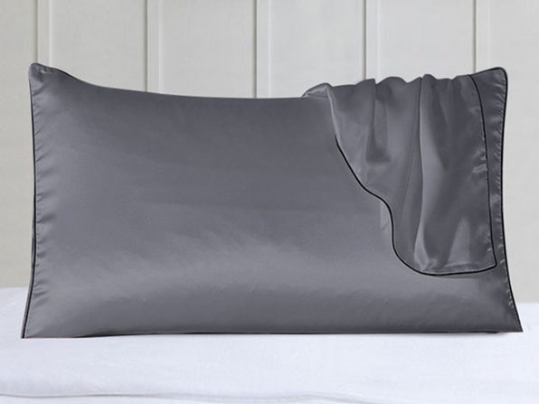 100% Silk Pillowcases with Trim: Set of 2 (Gray)