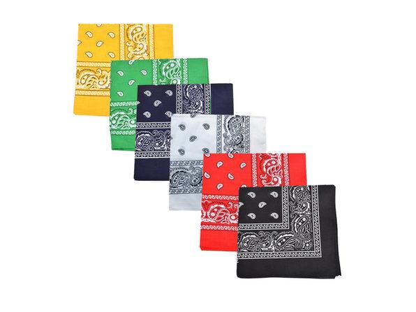 Paisley 100% Polyester Unisex Bandanas - 2 Pack - Black