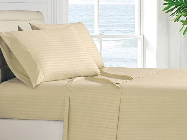 Luxury Ultra Soft 4-Piece Stripe Sheet Set (Vanilla/King)