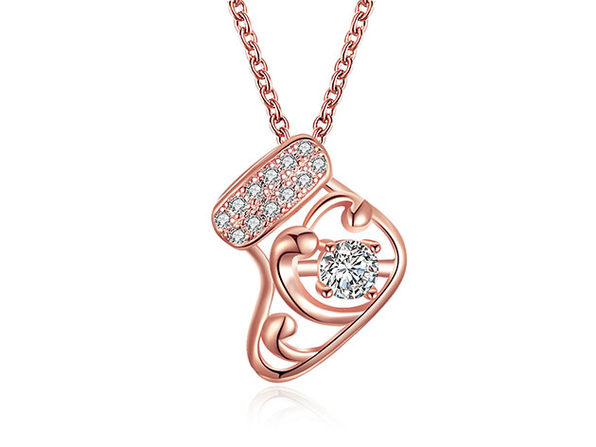 Stocking Stuffers Necklace Paved with White Swarovski Crystals (Rose Gold)