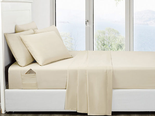 6-Piece Cream Ultra Soft Bed Sheet Set with Side Pockets Full - Product Image
