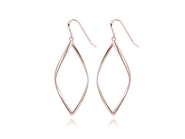 Geometric Spiral Drop Earrings (Rose Gold)