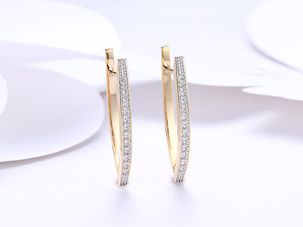 18K Gold Plated Curved Huggie Earrings with Micro-Pav'e Swarovski Crystals (3 Pairs)