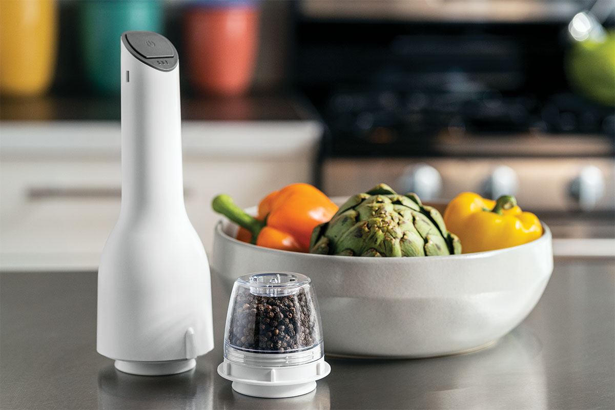 A spice grinder on a countertop