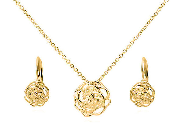 Rose Is A Rose Pendant & Earring Set (Gold)