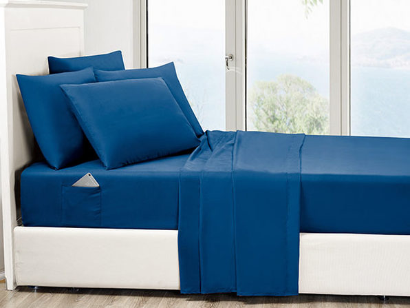 6-Piece Navy Ultra-Soft Bed Sheet Set With Side Pockets (Queen)