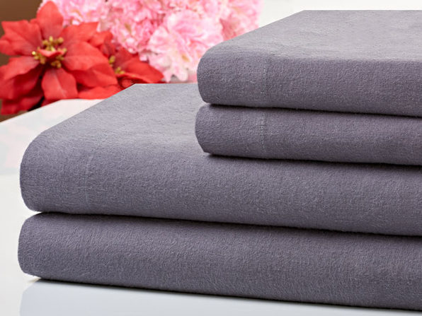 Bibb Home 100% Cotton Flannel Grey Sheet Set (Full)