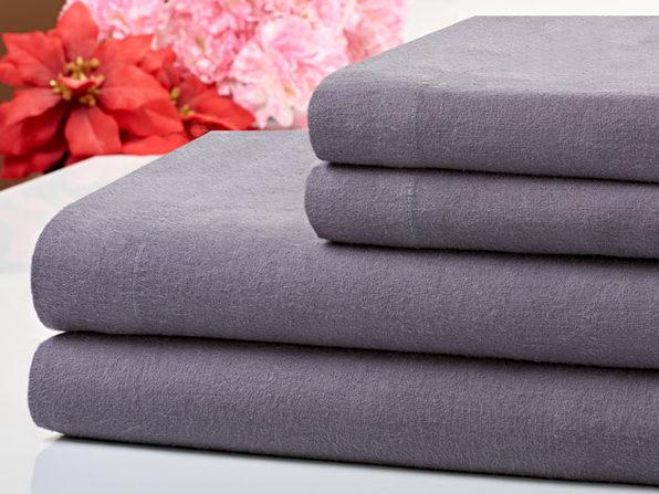 Bibb Home 100% Cotton Flannel Grey Sheet Set (Full)