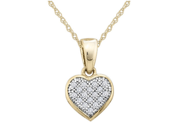 Diamond Heart Pendant Necklace 1/20 Carat (ctw) in 10K Yellow Gold20 - Product Image