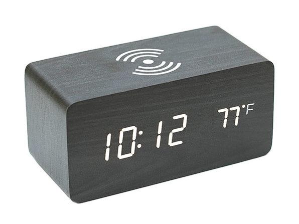 Qi Charging LED Wooden Alarm Clock - Black - Product Image