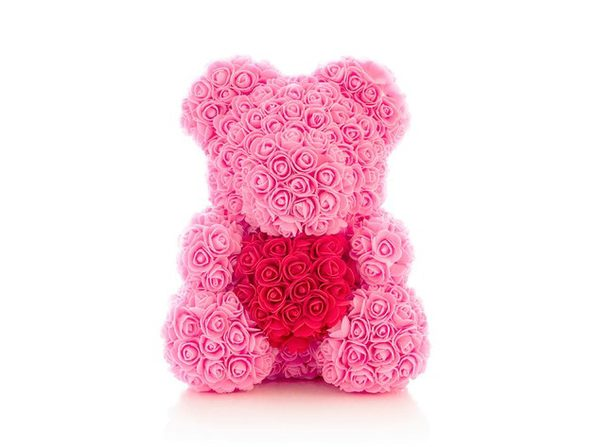 "Homvare Foam Rose Teddy Bear 14"" with Gift Box for Valentines Day, Anniversary and Birthday - Pink/Red"