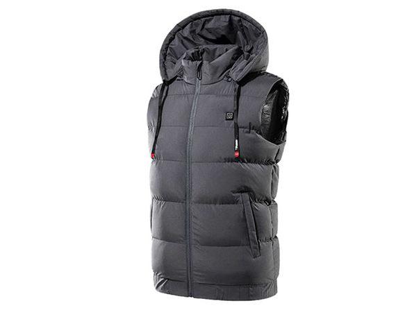 Thermal Waterproof Heated Hooded Vest (Large/Gray)
