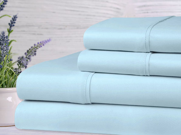 Bamboo 4-Piece Lavender Scented Bed Sheets - Twin - Aqua - Product Image