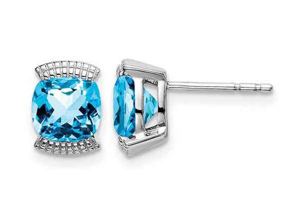 1.75 Carat (ctw) Natural Blue Topaz Earrings in 14K White Gold with Accent Diamonds