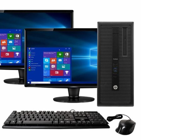 "HP ProDesk 600G1 Tower PC, 3.2GHz Intel i5 Quad Core Gen 4, 16GB RAM, 1TB SATA HD, Windows 10 Home 64 bit, Dual (2) 22"" Screens Screen (Renewed)"