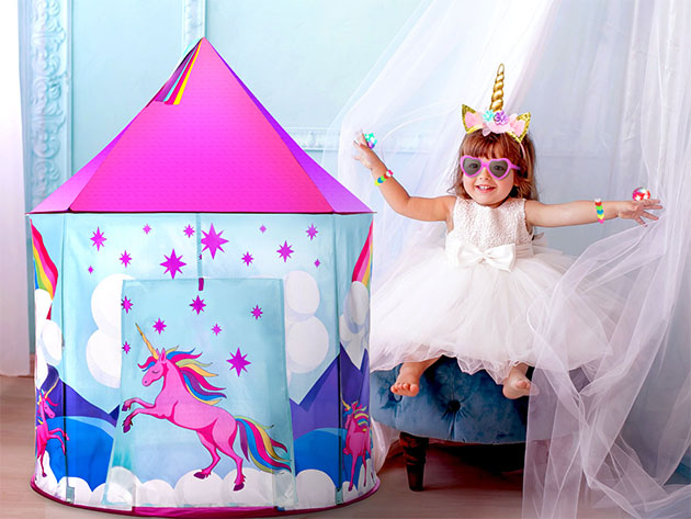 A child with a glitzy tent