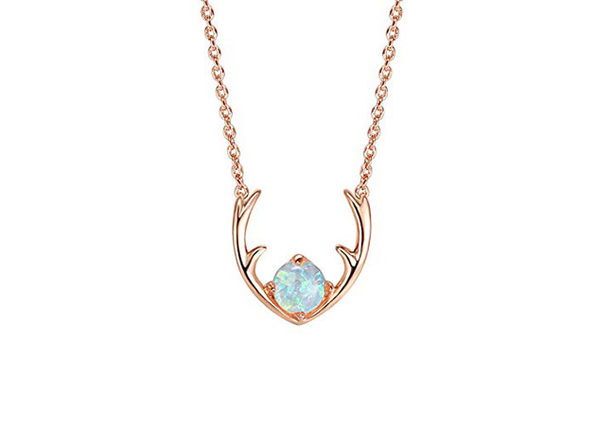 Opal-like Antlers Pendant Necklace