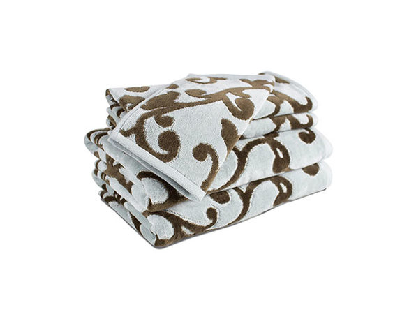 Provance Hotel Luxury Jacquard 5-Piece Towel Set In Seafoam/Brown