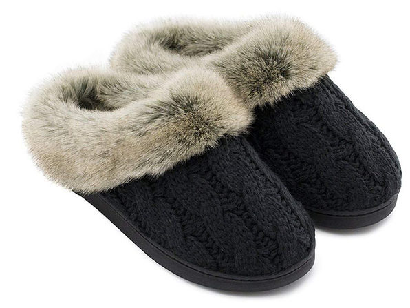 Women's Soft Yarn Cable Knitted Memory Foam Slippers (Black, Size 7-8)