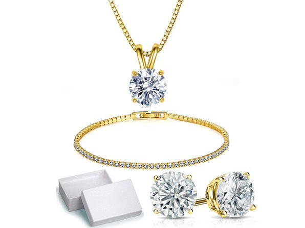 Solitaire 3-Piece Jewelry Set with Swarovski Crystals (Gold)