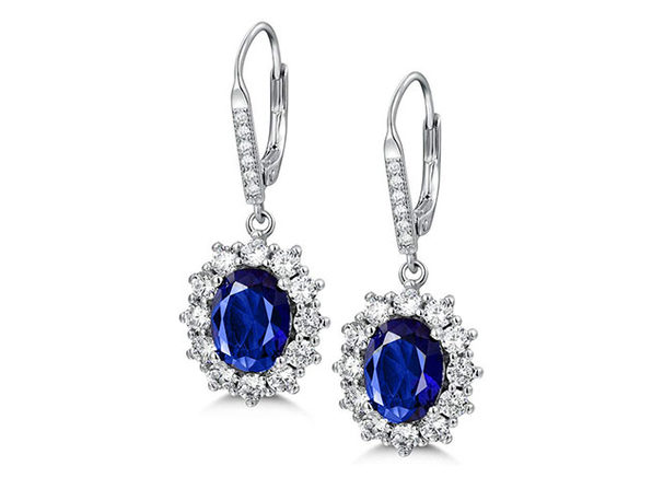 Sapphire Halo Leverback earrings in 18K White Gold Plating - Product Image