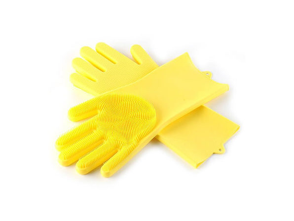 Silicone Dishwashing Gloves with Scrubbers (Yellow)
