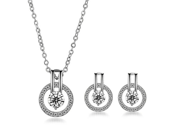 Linda Simulated Diamond Necklace & Earring Set