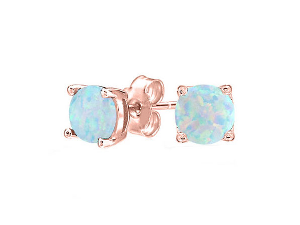 Opal-like Stud Earrings Rose Gold - Product Image