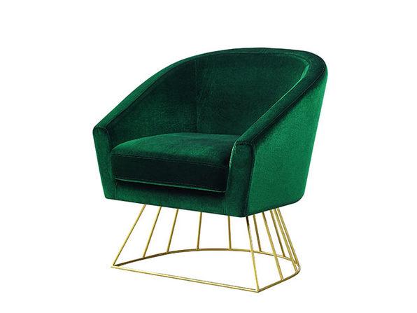 Adalene Velvet Accent Chair (Green/Gold)