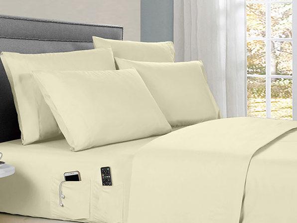Kathy Ireland 6-piece Smart Sheet Sets w/ Pocket - Ivory - King - Product Image