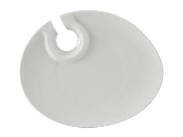 Tuxton Home Kona Porcelain Hands-Free Wine & Appetizer Plate Set