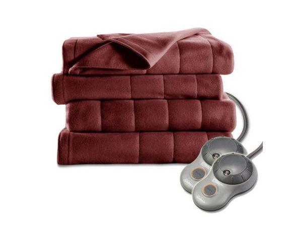 Sunbeam Royal Dreams Quilted Fleece Heated Electric Blanket - Garnet