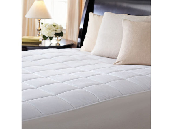 Sunbeam Premium Quilted Heated Electric Mattress Pad Box Pattern SC7 White - White