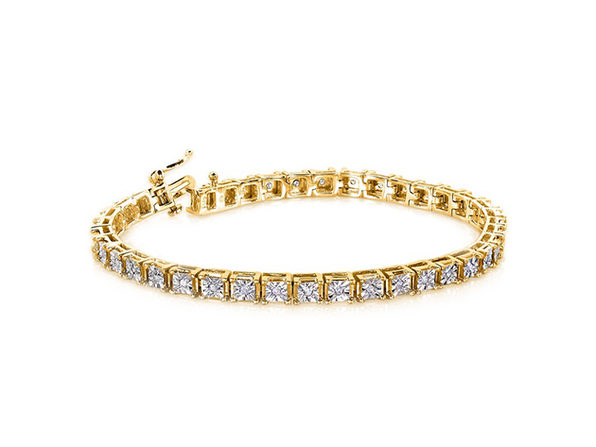 18K Sterling Silver Tennis Square Bracelet  - Square Yellow - Product Image