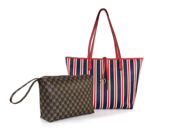 Striped Collection Tote & Wallet Set (Red + Cocoa)