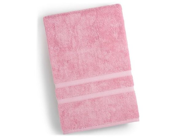 Charter Club 30 Inches x 56 Inches Elite Hygro Cotton Bath Towel with Geometric Jacquard Borders, Pale Pink