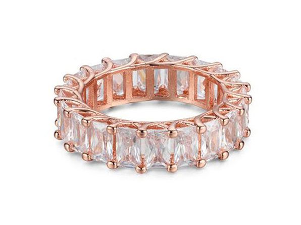 Emerald Cut Cubic Zirconia Eternity Band Ring (Rose Gold/ Size 8)