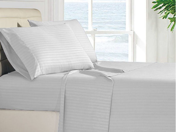 Luxury Ultra Soft 4-Piece Stripe Sheet Set (Grey)