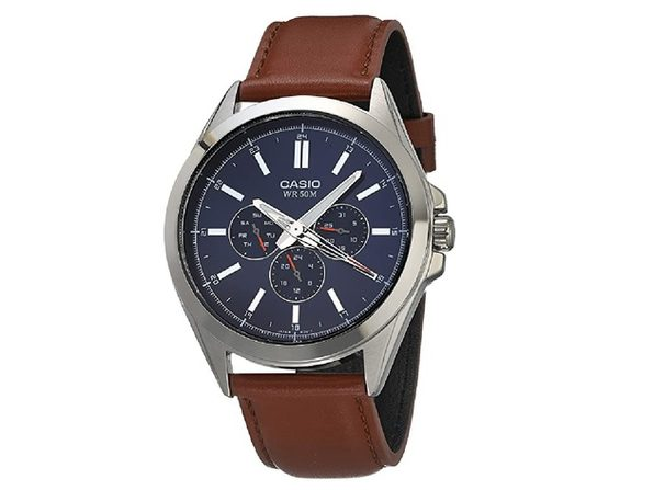 Casio Men's Classic Stainless Steel Quartz Watch with Leather Strap - Brown