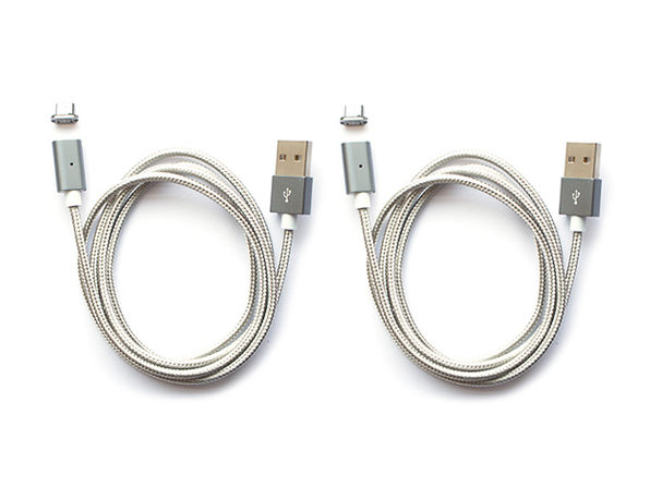 ARMOR-X Magnetic Micro USB Charging Cable: 2-Pack (Grey)