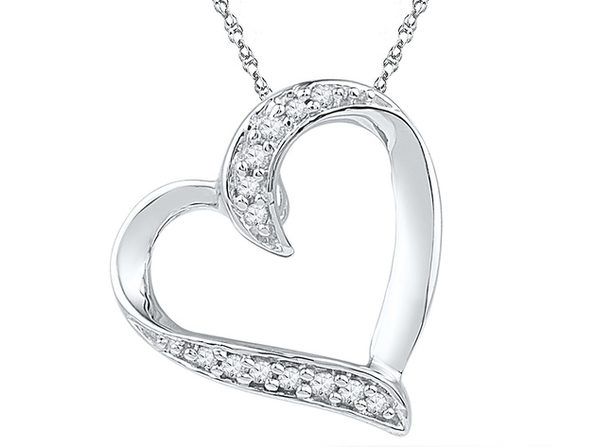 Heart Pendant Necklace in 10K White Gold with Accent Diamonds 1/20 carat (ctw)
