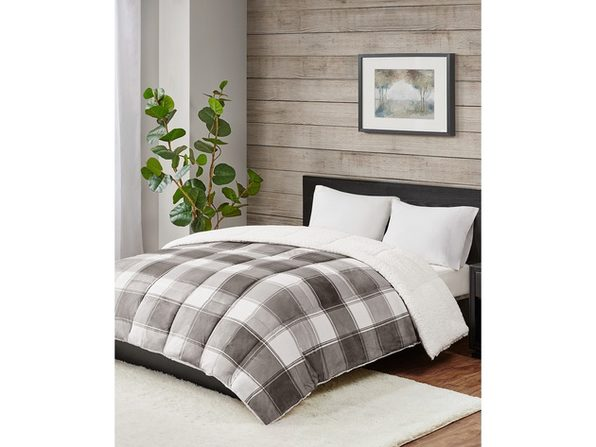 Premier Comfort Reversible Micro Velvet and Sherpa Down Alternative Twin Comforter